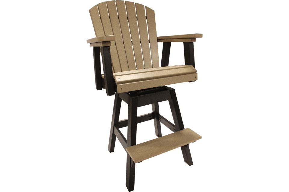 Outdoor Swivel Pub Chair- Weathered Wood/Black