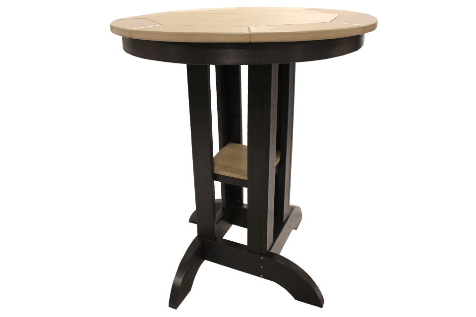 Outdoor Pub Table- Weathered Wood/Black