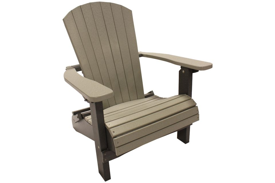 Outdoor Folding Adirondack Chair- Light Grey/Dark Grey