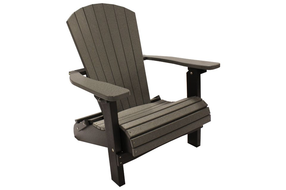 Outdoor Folding Adirondack Chair- Dark Grey/Black