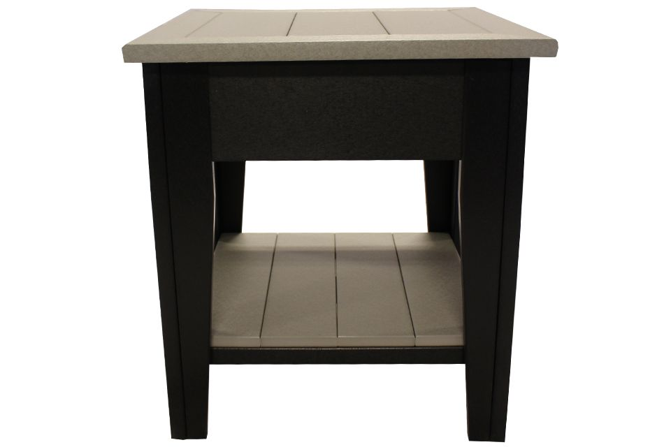 Outdoor End Table- Light Grey/Black