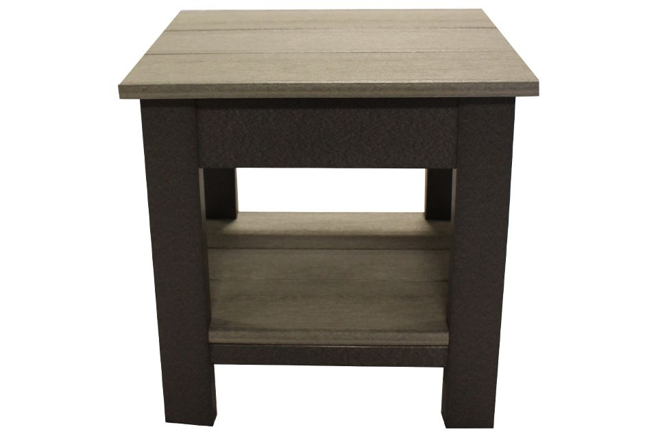 Outdoor End Table- Driftwood/Dark Grey