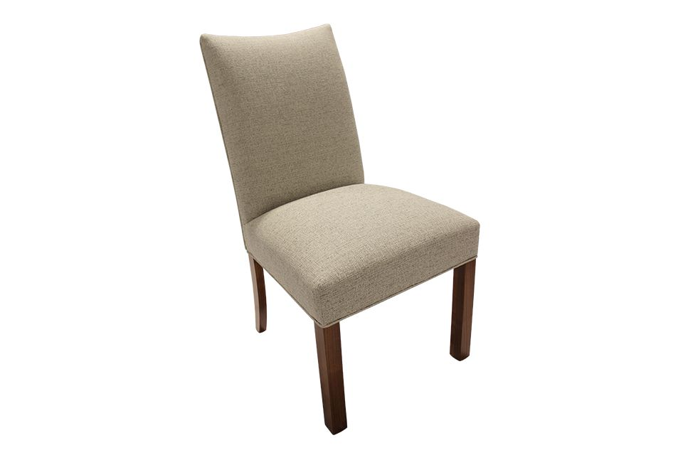Brown Maple Upholstered Side Chair