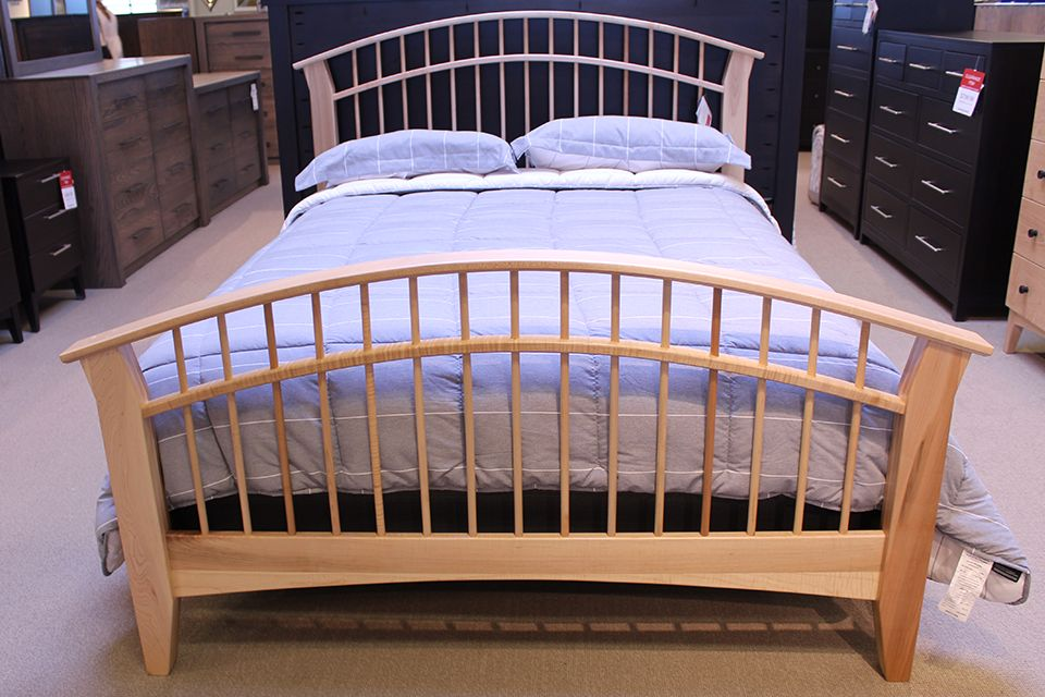 Brown Maple Queen Dowel Bed