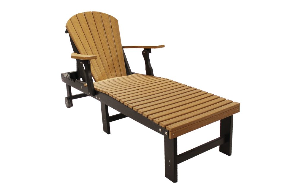 Outdoor Chaise Lounge - Antique Mahogany/Black