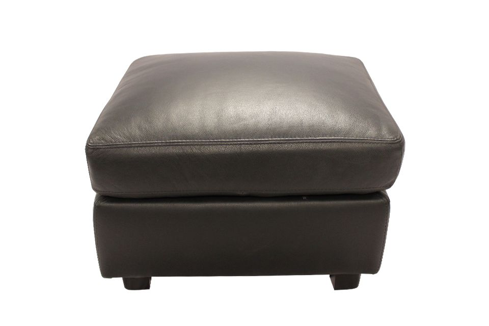 Leather Living Bailey Ottoman in Raven