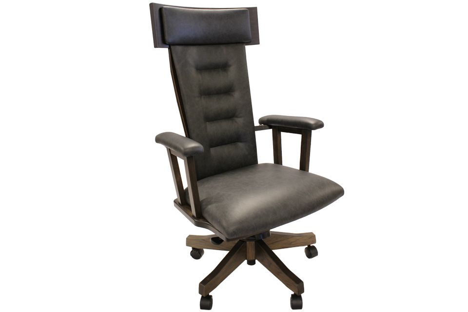 Hickory and Leather Rocker Desk Chair