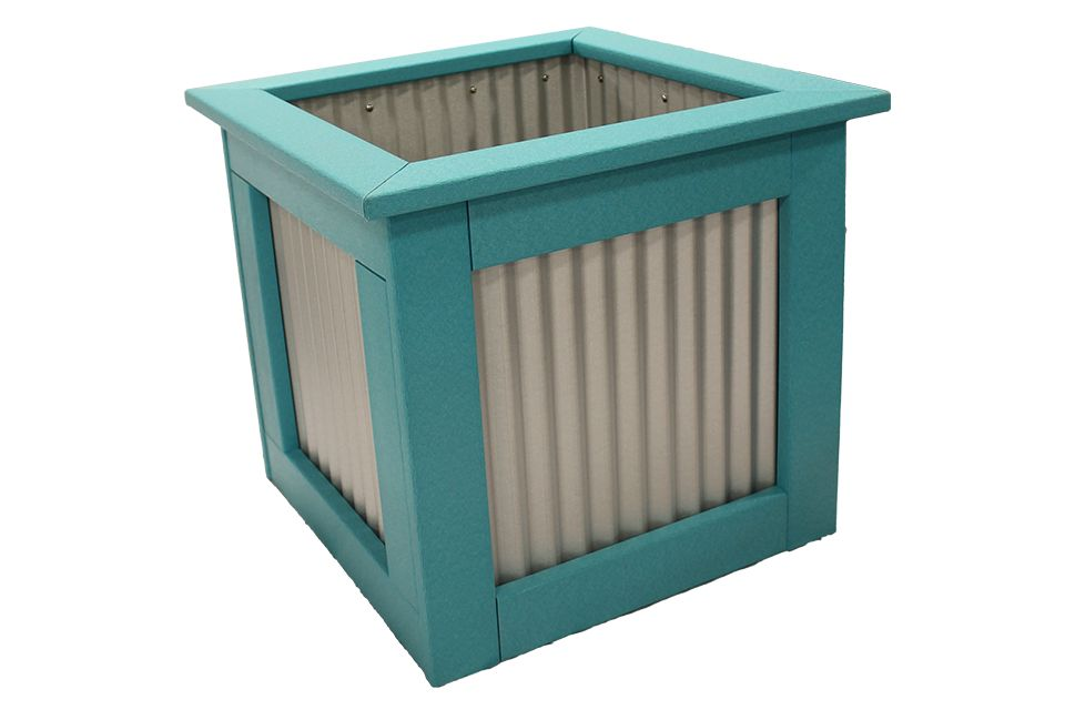 Outdoor Polywood Planter - Large Aruba Blue