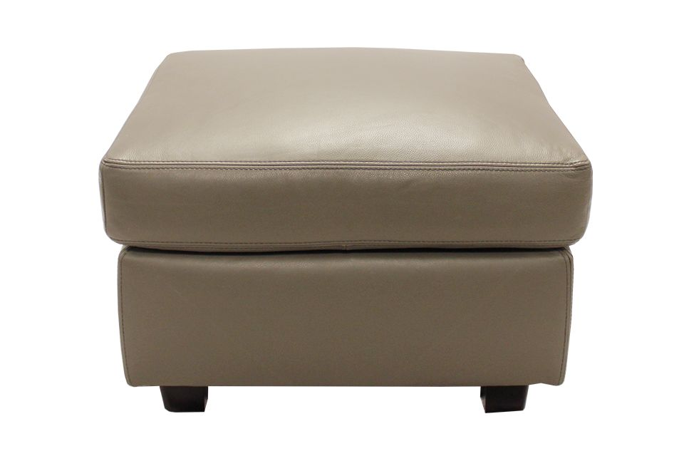 Leather Living Metro Ottoman in Stone Grey