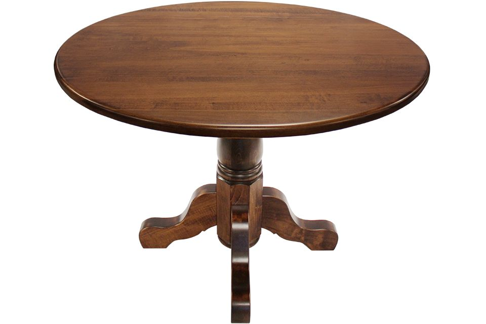 Brown Maple Drop Leaf Single Pedestal Dining Table