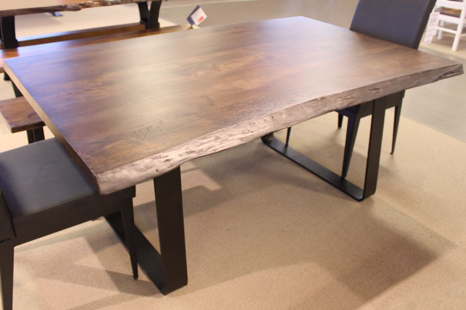 Live Edge Rustic Hickory Dining Table