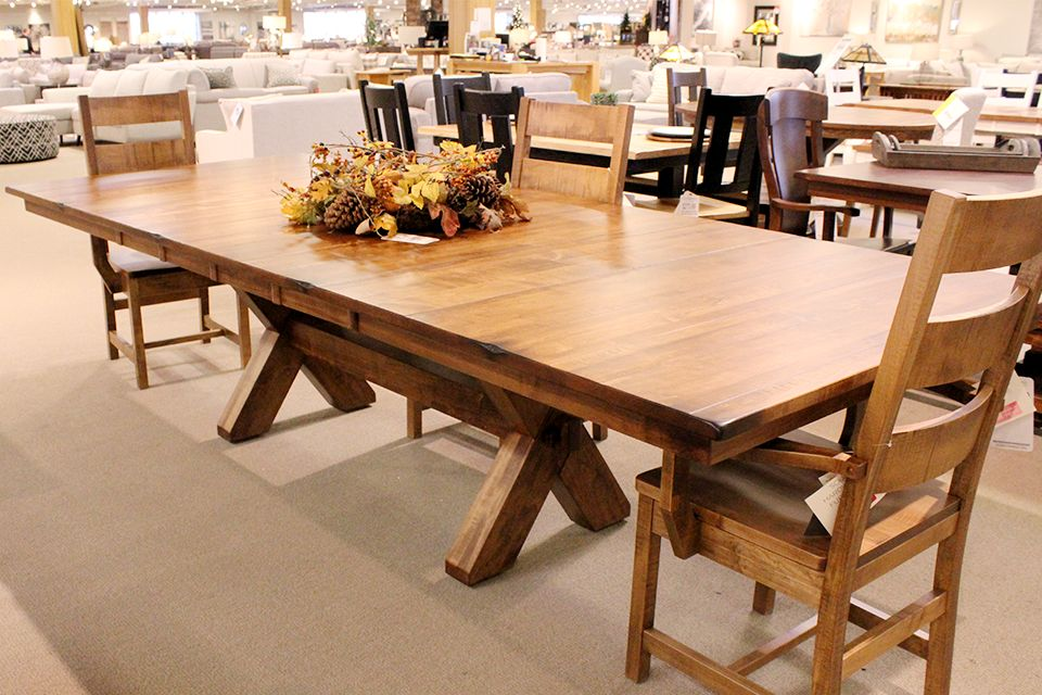 Brown Maple X Base Dining Table