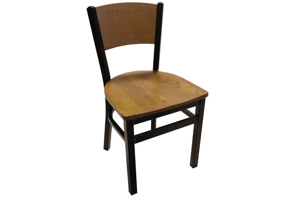 Rustic White Oak and Metal Dining Chair