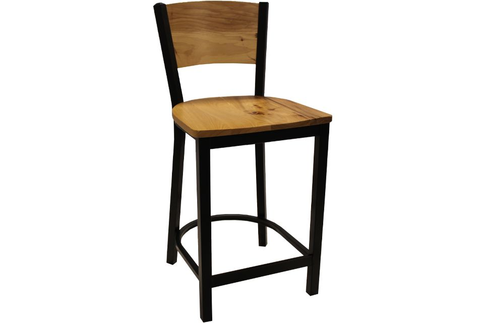 Rustic Hickory and Metal Stool