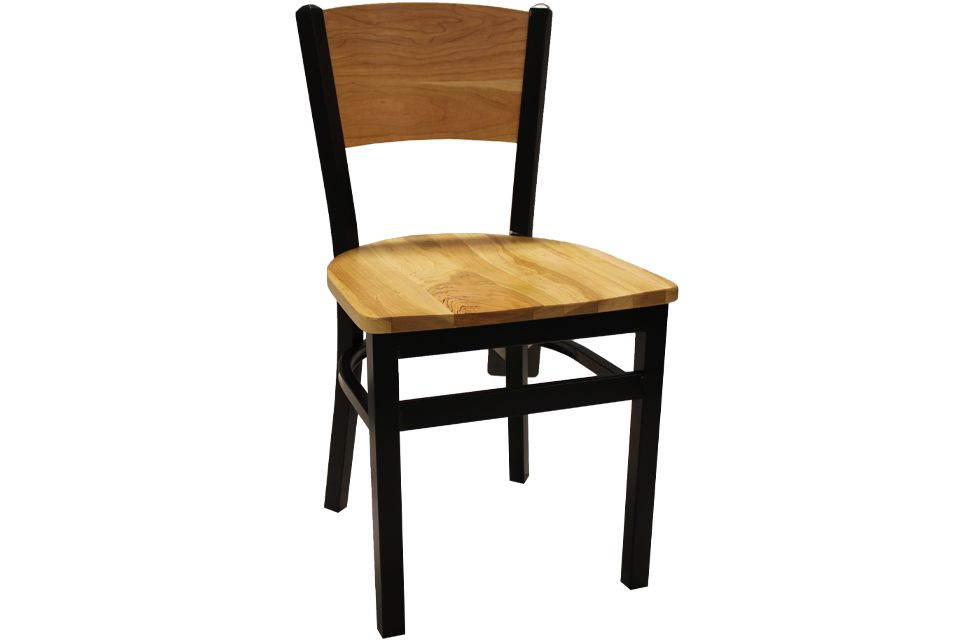 Rustic Cherry and Metal Dining Chair