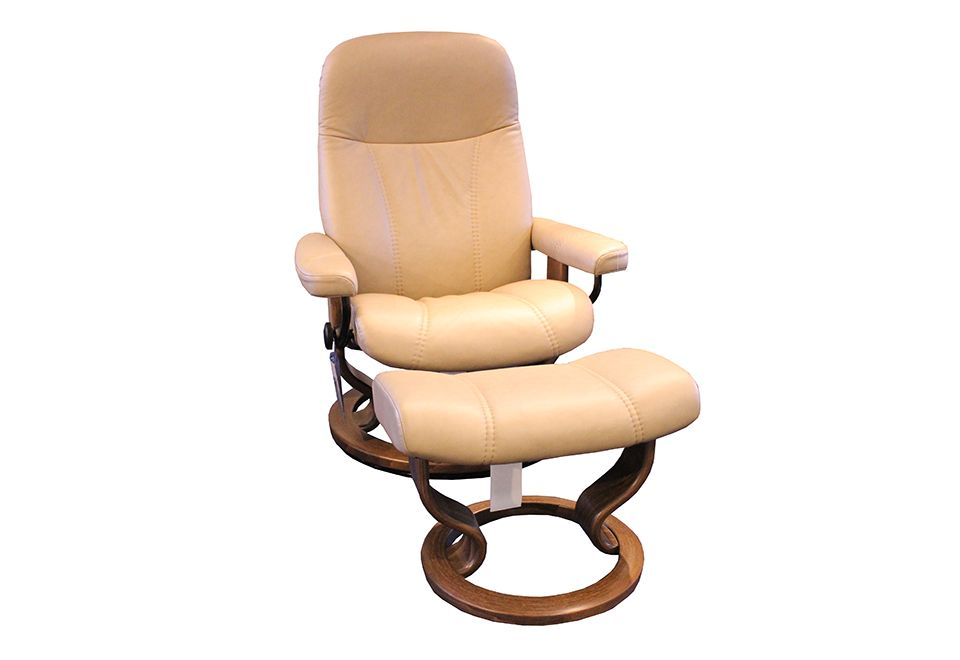 Ekornes Leather Reclining Chair & Ottoman