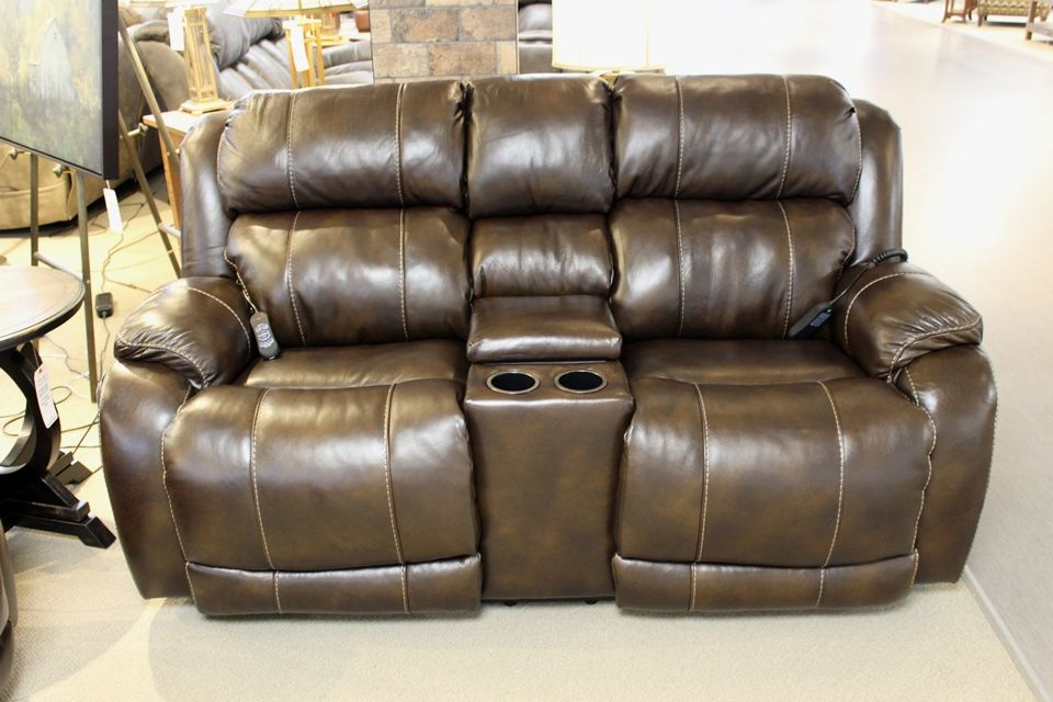 Homestretch Leather Power Reclining Loveseat With Console