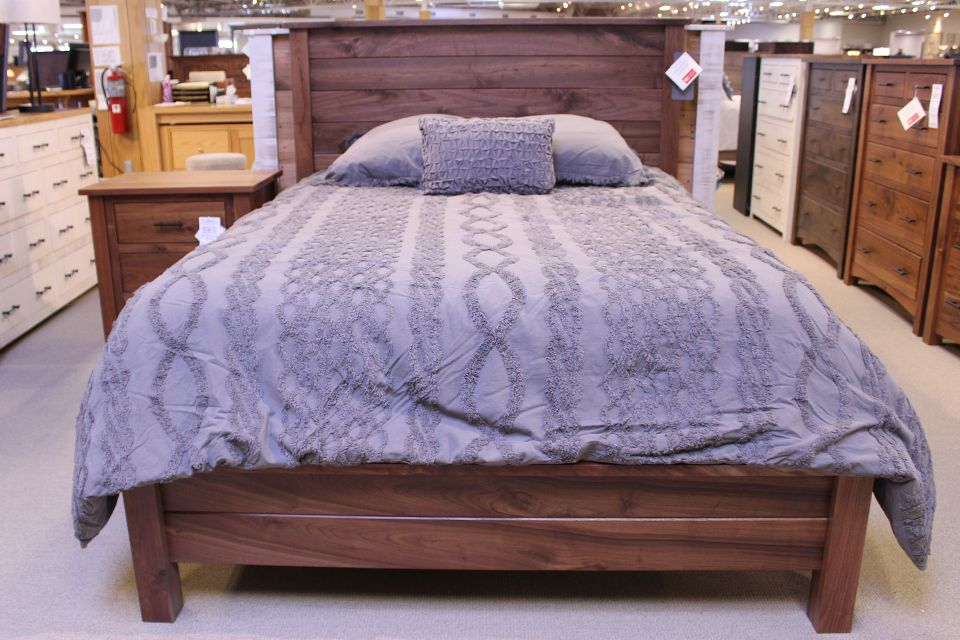 Rustic Walnut Queen Bed