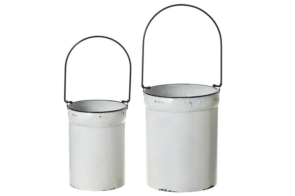 Black and White Enamel Buckets
