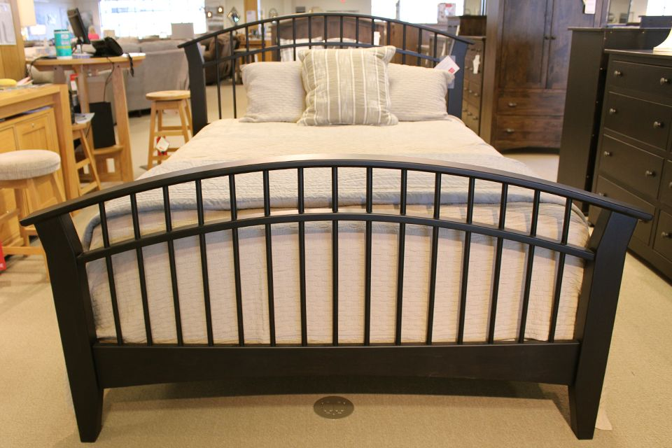 Brown Maple Dowel Queen Bed