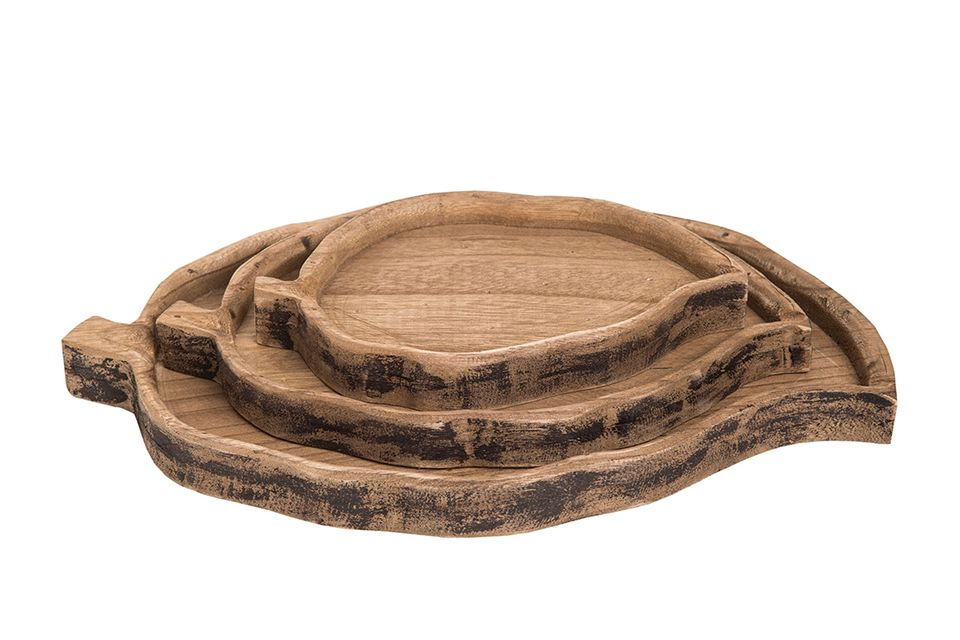 Wooden Leaf Trays - Set of 3