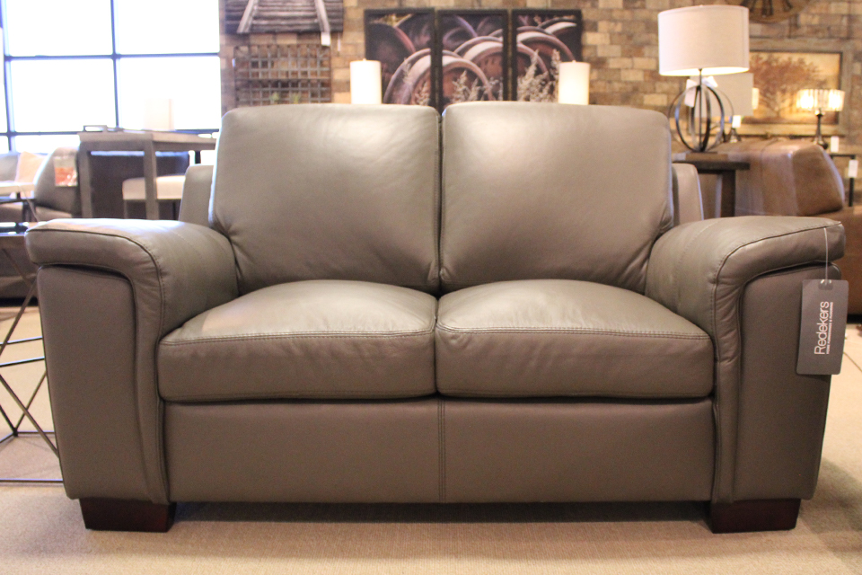 Leather Living Stone Gray Signature Loveseat
