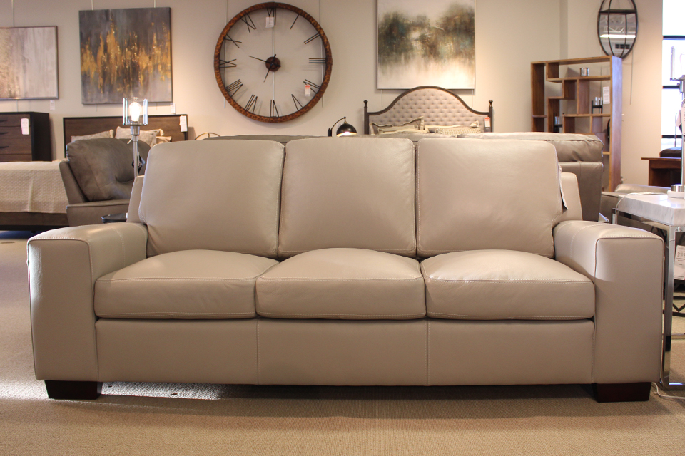 Leather Living Cloud Gray Bailey Sofa