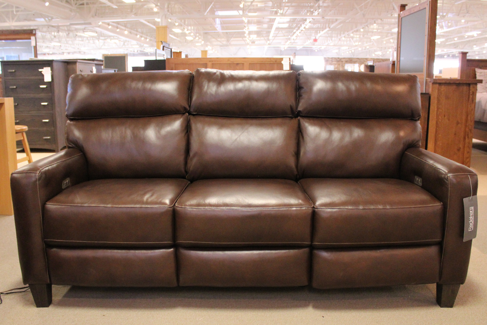 Southern Motion Leather Reclining Sofa with Power Headrest