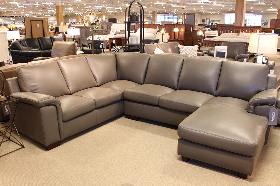 Leather Living Signature Stone Gray Sectional