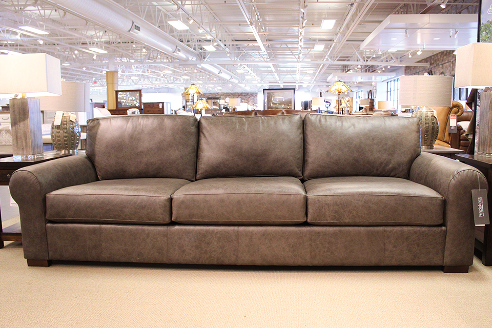 Mayo Omaha Grey Leather Sofa