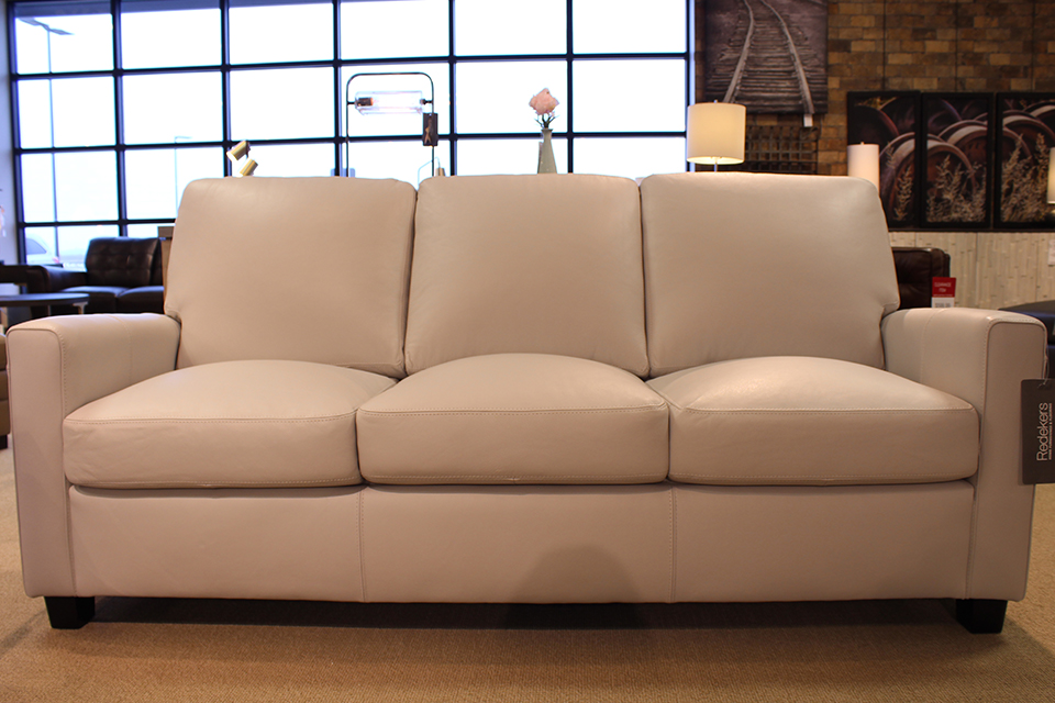 Leather Living Metro Silver Gray Sofa