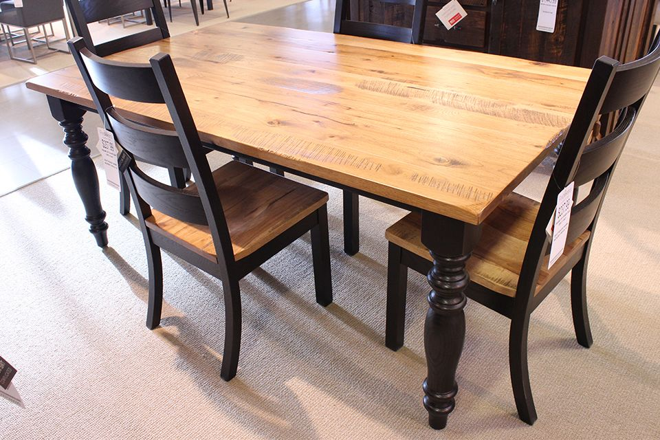 Rough Sawn Rustic Hickory and Red Oak Dining Table