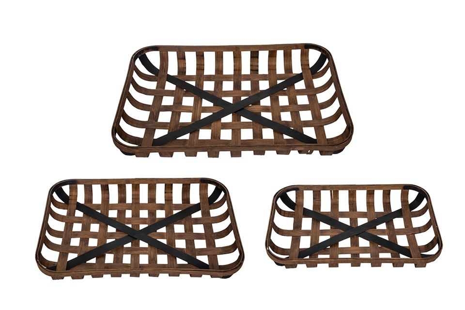 Wood and Metal Baskets - Set of 3