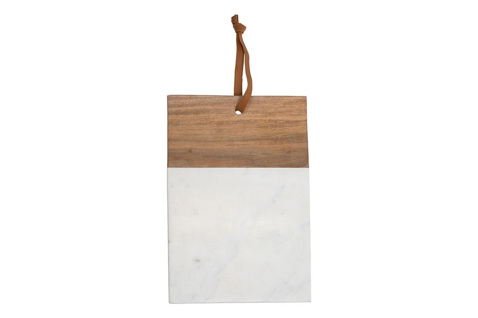 White Marble and Wood Square Cutting Board