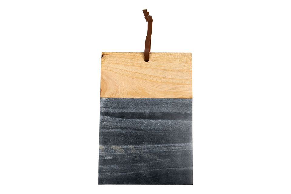 Black Marble and Wood Square Cutting Board