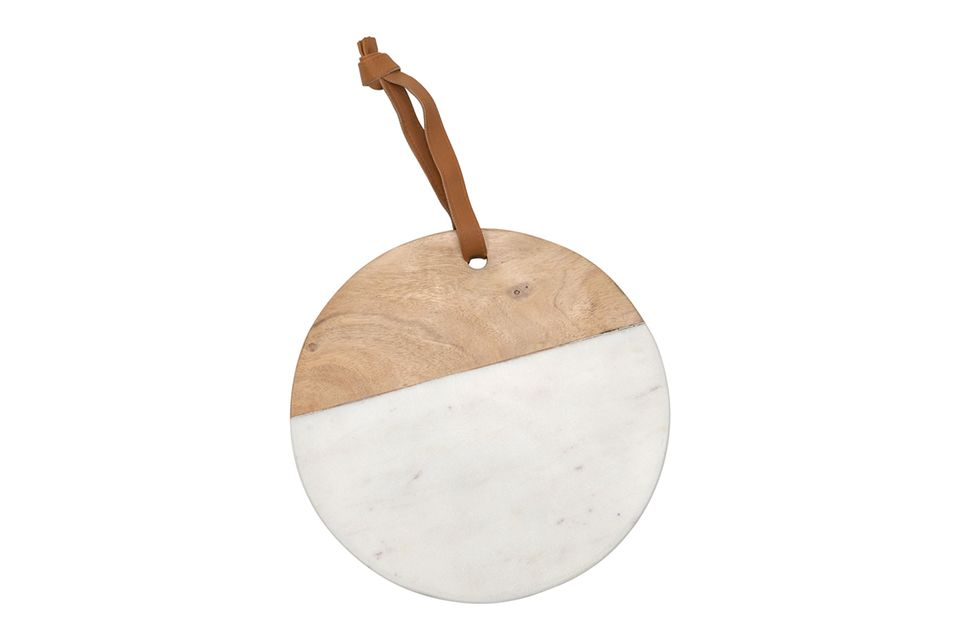 White Marble and Wood Round Cutting Board