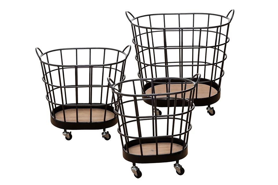 Rolling Wire Baskets - Set of 3