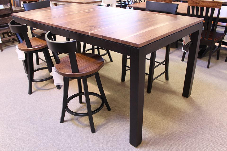 Rustic Walnut and Brown Maple Counter Height Dining Table