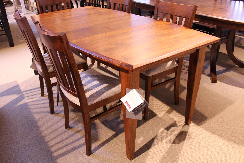 Brown Maple Shaker Dining Table With, Maple Wood Dining Room Furniture