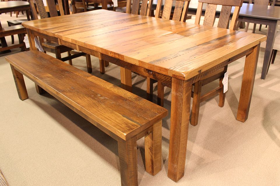 Reclaimed Oak Dining Table with Two 12
