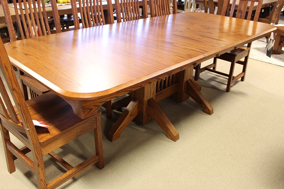 Oak Double Pedestal Dining Table with Two 12