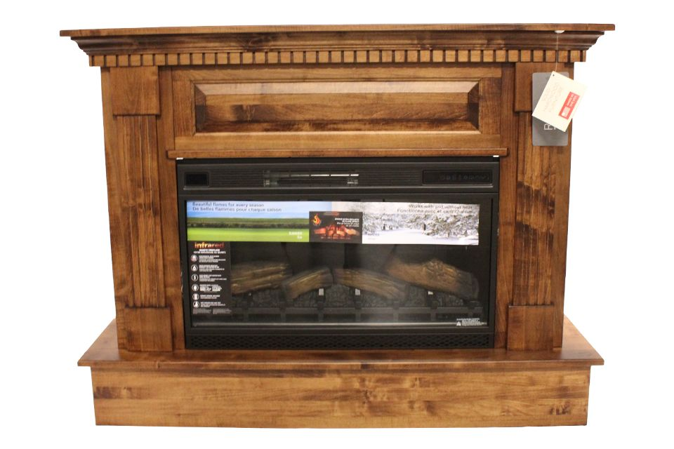 Brown Maple Fireplace Console