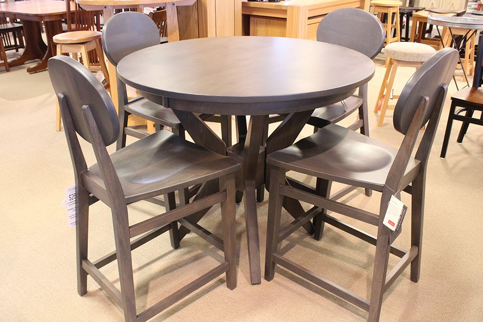 Brown Maple Round Counter Height Dining Table