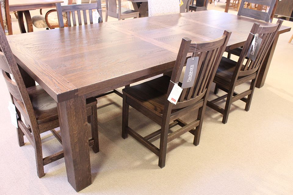 Oak Western Plank Dining Table with Two 12