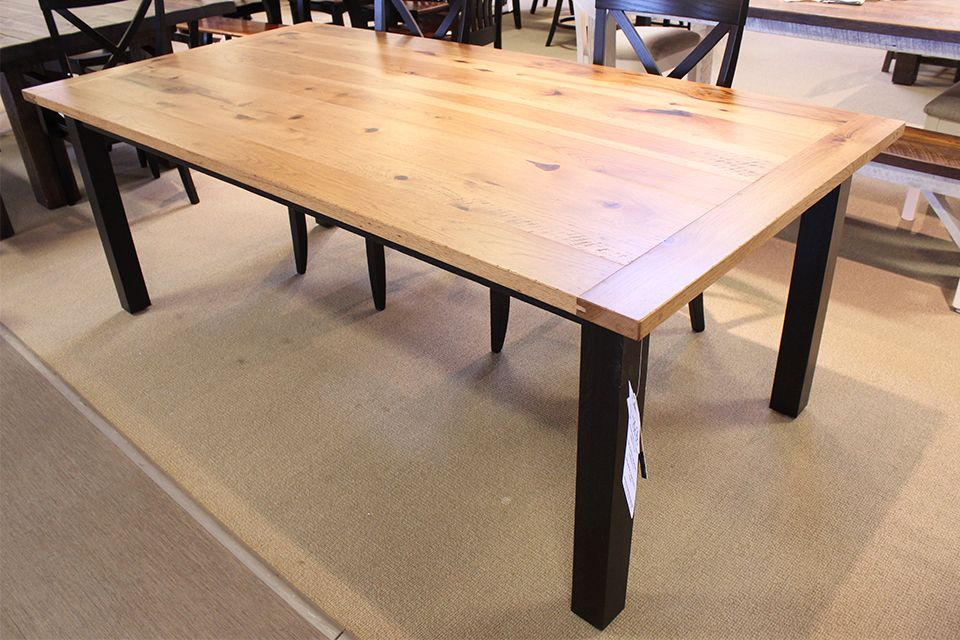 Rustic Hickory and Oak Western Plank Dining Table