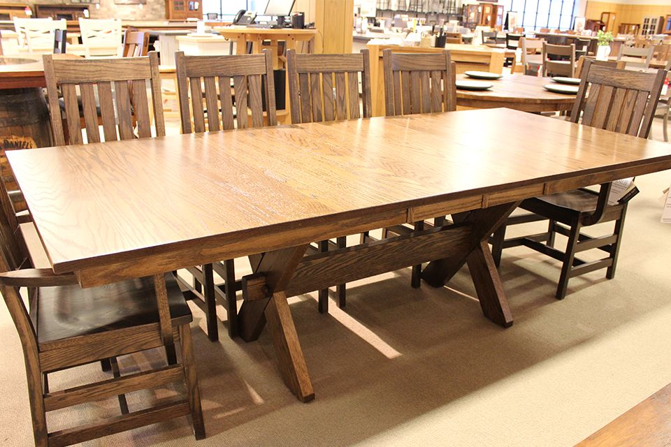 Oak X Base Dining Table with Two 12