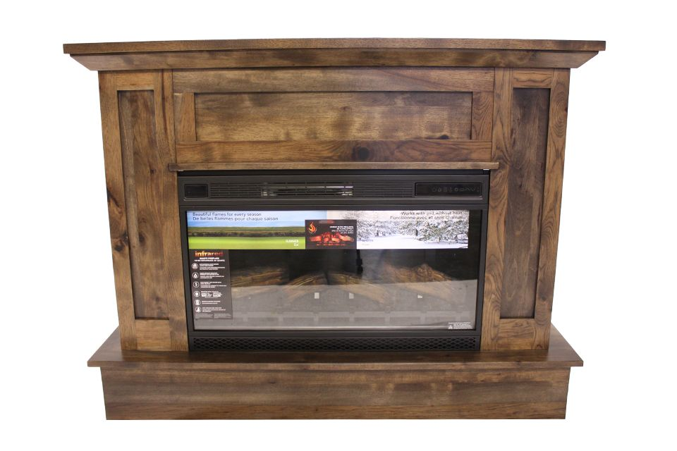 Rustic Hickory Fireplace Console