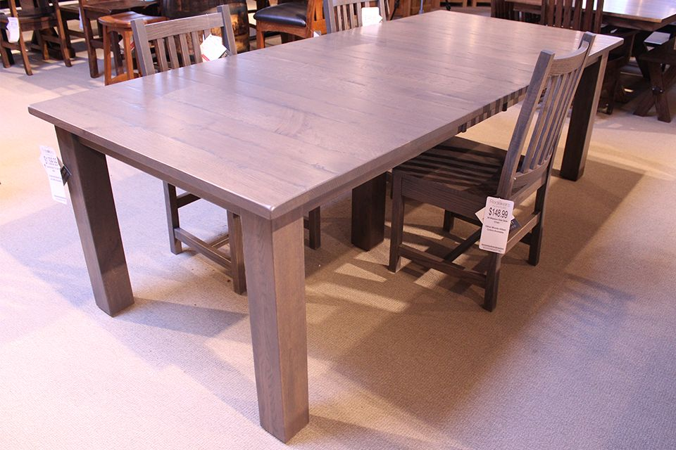 Rustic Quartersawn Oak Western Mission Dining Table with Two 12