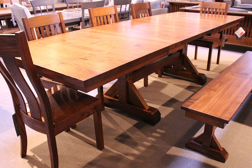 Rustic Quartersawn Oak Dining Table with Four 12