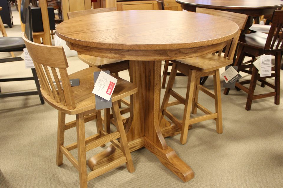 Oak Single Pedestal Counter Height Table